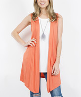 Ash Lydiane Women's Open Cardigans  Copper Drape-Front Open Vest - Women