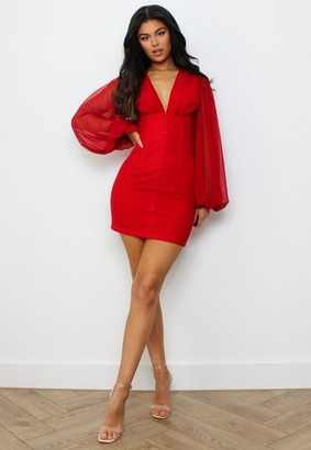 Missguided Red Dobby Spot Button Front Mini Dress