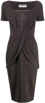 Le Petite Robe Di Chiara Boni Mesh Panel Mid-Length Dress