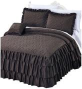 Serenta Matte Satin Ruffle 4 Piece Bed Spread Set, Chocolate, King
