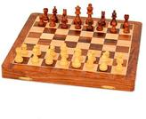 Magnetic Wood Chess Set with Velvet Lining from India, 'Strategy Challenge'