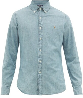 Polo Ralph Lauren Slim-fit Logo-embroidered Chambray Shirt - Mens - Blue White