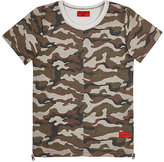 Haus of JR Logo-Print Camouflage French Terry T-Shirt-BROWN, GREEN