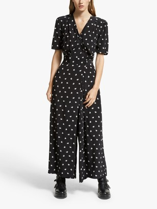 Somerset by Alice Temperley Fan Print Jumpsuit, Black