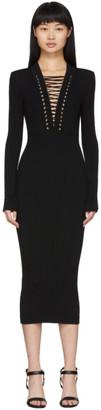 Balmain Black Lace-Up V-Neck Midi Dress