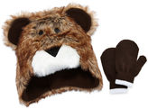 Asstd National Brand Fuzzy Bear Hat & Mittens Set- Toddler Boys