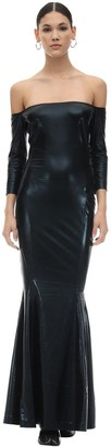 Norma Kamali Off-the-shoulder Faux Leather Dress
