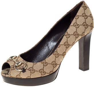 Gucci Beige GG Canvas Horsebit Peep Toe Wooden Platform Pumps Size 39.5