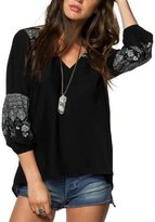 O'Neill Julie Placement Printed Long Sleeve Peasant Top