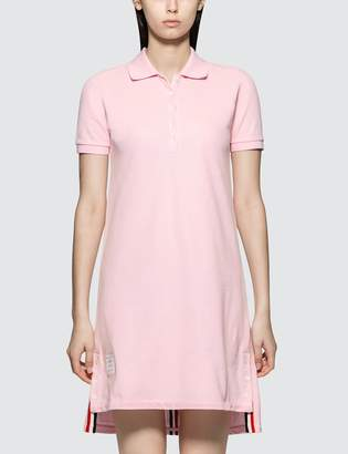 Thom Browne Short Sleeve A-line Polo Dress W/ Cb Rwb Stripe In Classic Pique