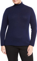 Neiman Marcus Cashmere Turtleneck Sweater, British Blue, Plus Size