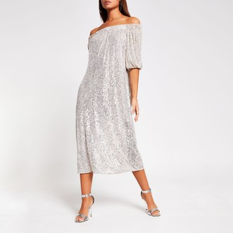 River Island Womens Silver sequin bardot midi dress