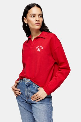 Topshop Womens Petite Red Long Sleeve New York Rugby Top - Red