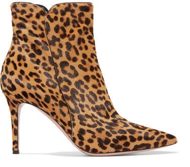 Gianvito Rossi Levy 85 Leopard-print Calf Hair Ankle Boots - Leopard print