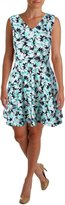 Aqua Womens Floral Mini Skater Dress B/W L