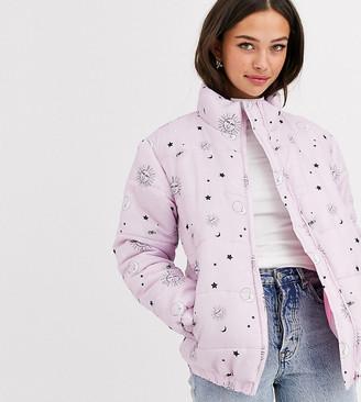 Daisy Street padded jacket in astrology print-Purple