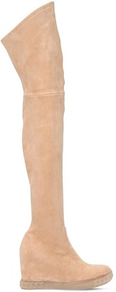 Casadei 100mm Stretch Suede Over-The-Knee Boots