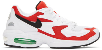 Nike White and Red Air Max 2 Light Sneakers