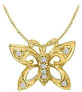 LoveBrightJewelry Beautiful Jewelry Cubic Zirconia Butterfly Pendant in Yellow Gold Vermeil with Free Chain