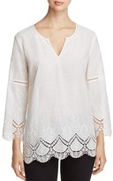 NYDJ Petites Callie Embroidered Crochet Trim Tunic