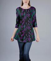 Azalea Purple & Green Floral A-Line Tunic - Plus Too