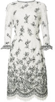 Oscar de la Renta flower embroidery lace dress - women - Cotton/Nylon - 2