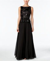 Calvin Klein Sequined Embroidered Peplum Gown