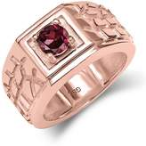 Gem Stone King 0.64 Ct VS Rhodolite Garnet 18K Rose Gold Plated Silver Men's Solitaire Ring