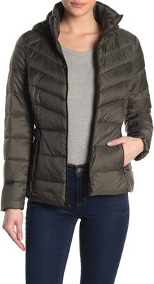 Lucky Brand Missy Hooded Short Packable Down Jacket