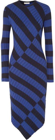 Altuzarra Whistler Asymmetric Striped Ribbed-knit Dress - Royal blue