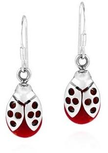 Aeravida Handmade Summer Love Ladybug Stone Sterling Silver Earrings