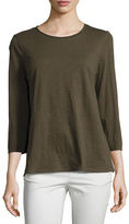 Eileen Fisher 3/4-Sleeve Slubby Organic Jersey Top