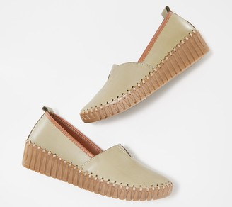 Spring Step Leather Wedge Shoes - Tispea