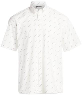 Balenciaga Repeat Logo Short-Sleeve Shirt
