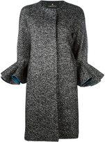 Capucci ruffle sleeve Herringbone coat