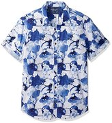 Calvin Klein Jeans Men's Short Sleeve Water Floral Button Down Shirt