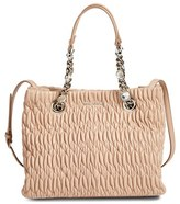Miu Miu Small Crystal Matelasse Leather Satchel - Beige