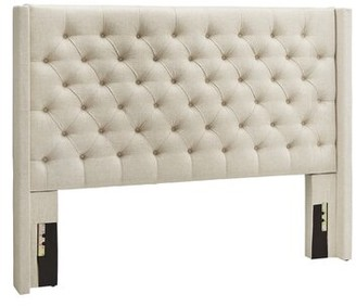 Three Posts Cassville Upholstered Wingback Headboard Size: Queen, Upholstery: Beige