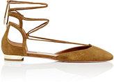 Aquazzura Women's Austin Ankle-Tie Flats-DARK GREEN