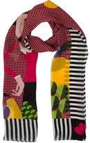 Moschino Silk Gingham Print Scarf