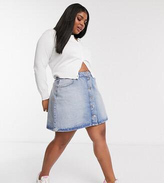 ASOS DESIGN Curve denim button through skirt in blue