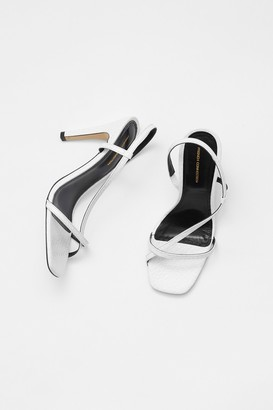 French Connenction Faux Croc Wrap Around Leather Sandals
