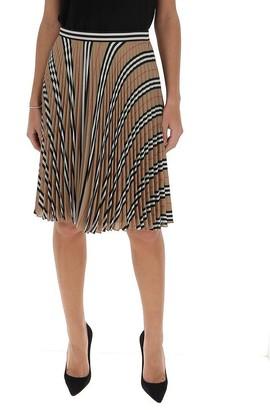 Burberry Pleated Icon Stripe Midi Skirt