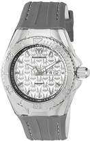 Technomarine Men's Quartz Watch with Silver Dial Analogue Display and Grey Silicone Strap TM-115153