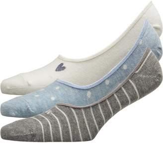 Lovestruck Womens Three Pack Low Cut Footsie Socks Heart Cream