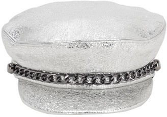 Eugenia Kim MARINA METALLIC LEATHER HAT W/CHAIN