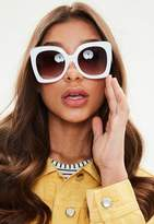 Missguided White Oversized Square Frame Sunglasses