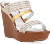 Rene Caovilla Triple-Strap Wedge Slide Sandals
