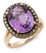 Effy 14K Rose Gold Diamond & Amethyst Ring