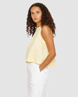Jag Women's Yellow Cropped tops - Cassie Linen Shell Top - Size One Size, XL at The Iconic